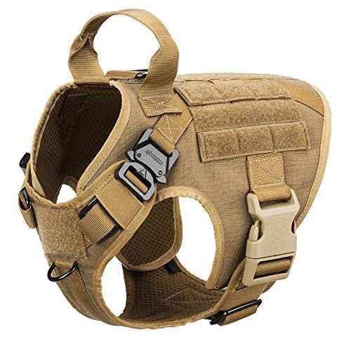 ICEFANG Small Dog Molle Harness,K9 Working Dog Tactical Vest,No Pulling Front Clip,Metal Buckle,Hook and Loop Panel, Easy Put On Off (S (22