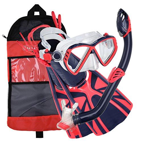 U S  Divers Regal Jr Pro Youth Mask  Laguna Snorkel  Lava Fins Set  Blueberry  Medium
