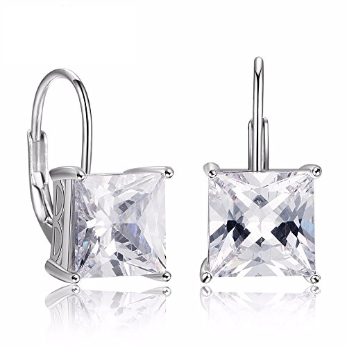 Square Cubic Zirconia Solitaire - 925 Sterling Silver Square Clear