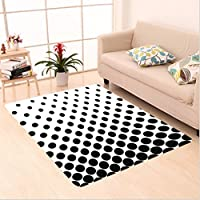 Nalahome Custom carpet stract Minimalist Monochrome Dots in Black Growing Big from Bottom to Top Polka Dots Image White area rugs for Living Dining Room Bedroom Hallway Office Carpet (5 X 7)