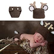 Diamondo Newborn Baby Girls Boys Crochet Knit Costume Photography Props Outfits Deer