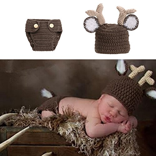 Child Deer Costumes (Diamondo Newborn Baby Girls Boys Crochet Knit Costume Photography Props Outfits Deer)