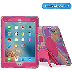 iPad Pro 9.7 inch Case, Aceguarder Kidsproof Super Protective Kickstand Case With Front Cover And Built-in Screen Protector for iPad Pro 9.7 (iPad Pro 9.7 Case, Pink Camo/Pink)