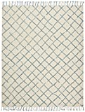 Stone & Beam Transitional Criss-Cross Wool Area Rug, 8'x10', Blue and White