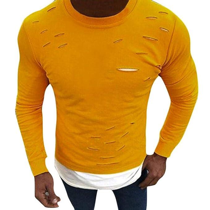Resplend Hombres Musculoso O-Cuello Fake Two Pieces Camisa de Manga Larga con Agujero Tops Blusas: Amazon.es: Ropa y accesorios