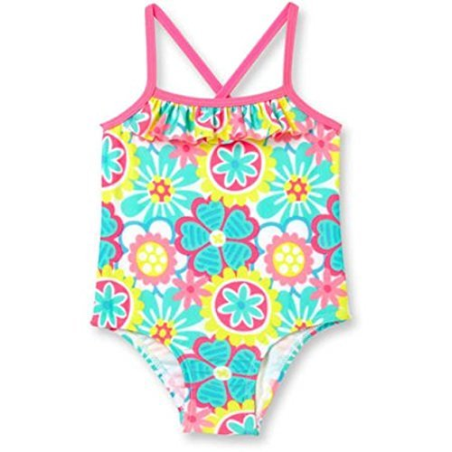 Op Baby Girl Ruffle Trim One-Piece Swimsuit (24 months, Daisy Doodle)