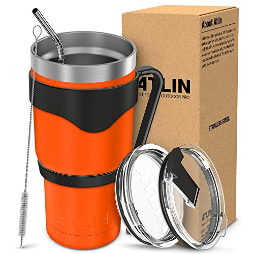 Atlin Tumbler [30 oz. Double Wall Stainless Steel Vacuum Insulation] - Orange Travel Mug [Crystal Clear Lid] Water Coffee Cup [Straw + Handle Included] For Home, Office, Ice Drink, Hot Beverage