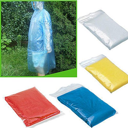Gaddrt 5pcs Portable Waterproof Disposable Raincoat Unisex Disposable Clear Rainwear Rain Poncho with Cap for Outdoor Travel Camping Hiking