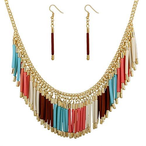 SDLM Women Charming Handmade Jewelry Acrylic Tassel Bib Statement Necklace  Drop Earring Set(br)
