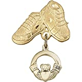 14kt Yellow Gold Baby Badge with Claddagh Charm and Baby Boots Pin 1 X 5/8 inches