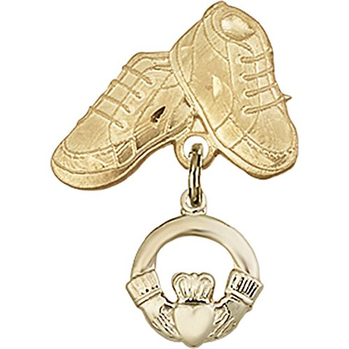 14kt Yellow Gold Baby Badge with Claddagh Charm and Baby Boots Pin 1 X 5/8 inches by Unknown