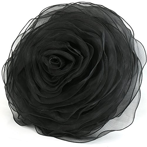 K-Cliffs Ruffled Rose Decorative Pillow Throw Deluxe Flower Shape Chiffon Couch Bed Sofa Cushion Round 16