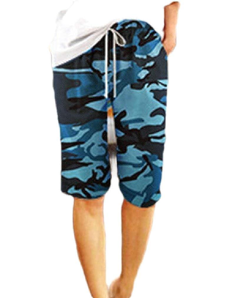Smallwin Women Camo Casual Elastic Waist Straight Leg Bermuda Shorts