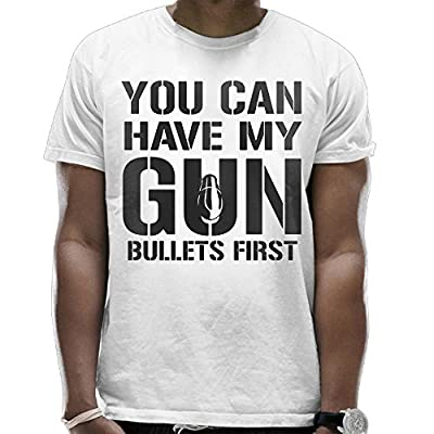 PSODESS You Can Have My Gun Bullets First Men's Combed Crew Neck T-Shirts