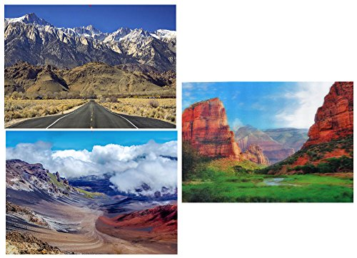 Scenic Mountains:Mt. Whitney, Heleakala Crater & Zion Canyon - 3 Lenticular 3D Postcard Greeting Cards