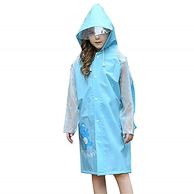 2abd5c7e6e5 DoMii Kids Fashion Long Raincoat with Hood and Sleeves Girls Boys Reusable Rain  Jacket with Schoolbag