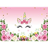 SJOLOON 7x5ft Photography Backdrop Unicorn Birthday Party Photo Background Flowers Roses Cute Stars Smiling Face Baby Shower Unicorn Head Sweet Pink Girls Photo Portrait Studio 10983