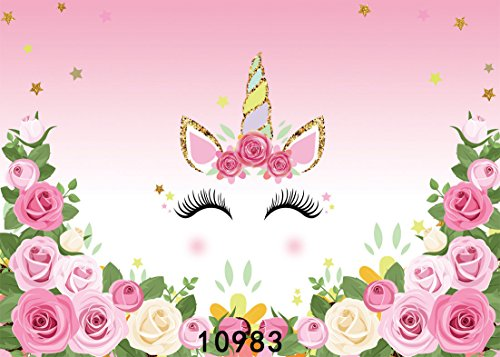 (SJOLOON 7x5ft Photography Backdrop Unicorn Birthday Party Photo Background Flowers Roses Cute Stars Smiling Face Baby Shower Unicorn Head Sweet Pink Girls Photo Portrait Studio 10983)