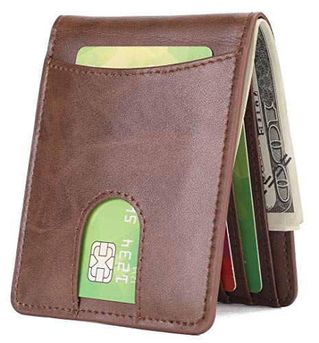 Mens Slim Front Pocket Wallet ID Window Card Case with RFID Blocking - Coffee with Quick Slot