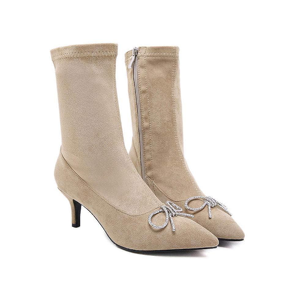 Apricot 38 EU High Heels Herbst und Winter Stiefel Shorts Strass Schleife Spitzen High Heel Damenstiefel einfarbig