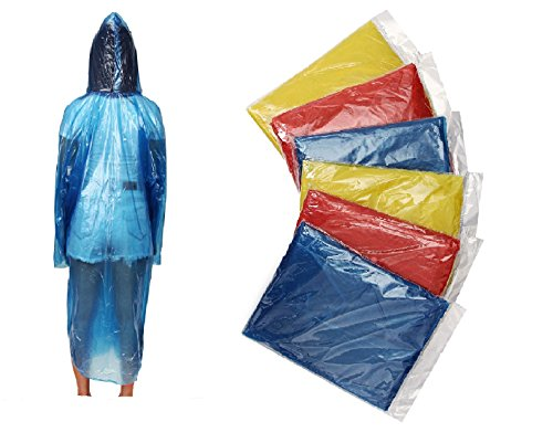 ShoppeWatch Disposable Rain Ponchos with Hood and Sleeves Family 6 Pack Emergency Panchos Clear Plastic Raincoat Waterproof for Men Women Adults Teens and Kids
