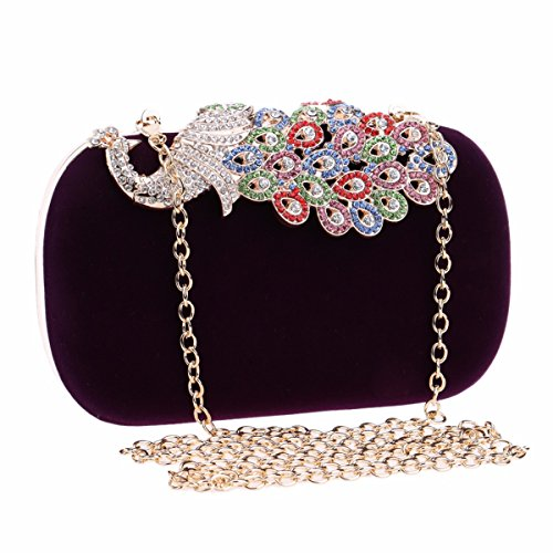 "XJTNLB Diamond Dîner Sac, Occident Fashion Mesdames""Sac De Soirée Banquet, Peacock,Black Violet"