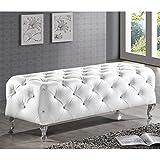 Baxton Studio Stella Crystal Tufted Modern Bench, White