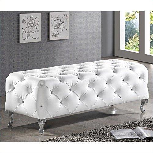 Baxton Studio Stella Crystal Tufted Modern Bench, White by Baxton Studio