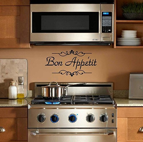 YINGKAI French Bon Appetit Quote Living Room Vinyl Carving Wall Decal Sticker for Home Kitchen Window Decoration