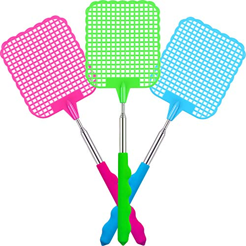 Extendable Fly Swatter, Flexible Manual Swat Fly Prevent Pest with Durable  Telescopic Handle, 3 Pack (Multicolors B)