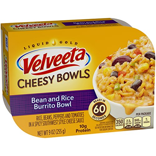 Velveeta Cheesy Bean & Rice Burrito Bowl (9oz Boxes, Pack of 6) - Frozen Gourmet Meals