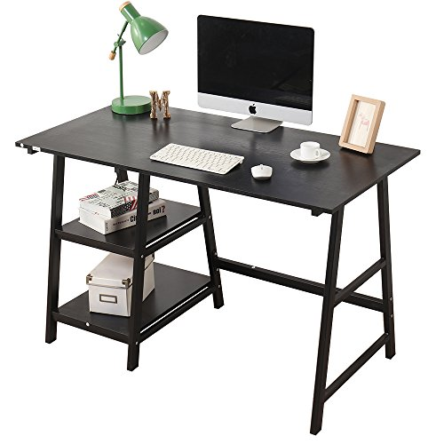Soges Computer Desk Trestle Desk Writing Home Office Desk Hutch Workstation  With Shelf, Black 47