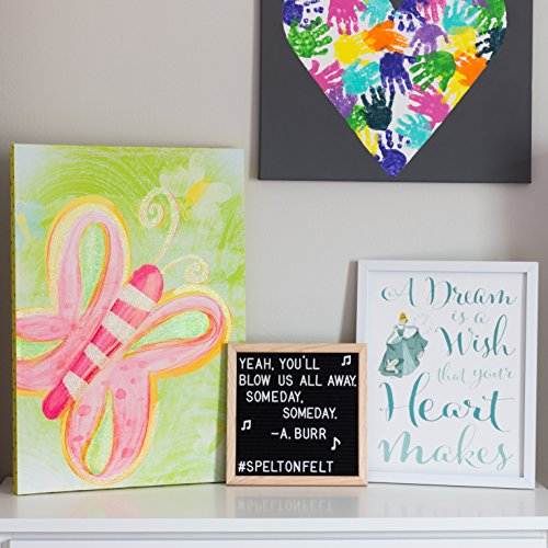 Spelt On Felt Letter Board 10x10 - Black Set - Vintage Oak Frame Decorative Message Board Kit - Changeable Letters - Cute Accessories - Small Square Wooden Boards - Modern Farmhouse Home Decor