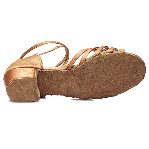 HROYL Mädchen Tanzschuhe/Latin Dance Schuhe Satin Ballsaal Modell-DS-202 Braun