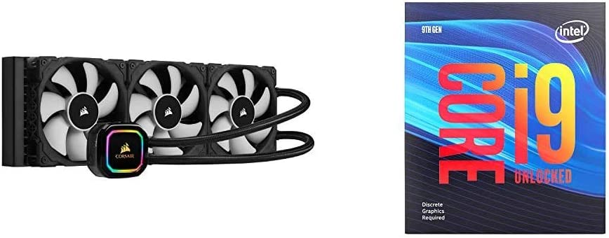 Corsair iCUE H150i RGB Pro XT, 360mm Radiator, Triple 120mm PWM Fans, Advanced RGB Lighting and Fan Control with Intel BX80684I99900KF Intel Core i9-9900KF Desktop Processor 8 Cores