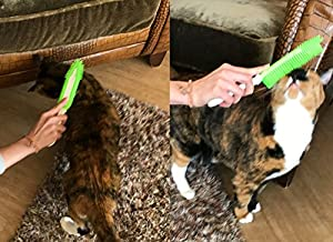 Cat Hair Removal Brush-- BEST Pet Hair Remover for Cat--Removes Lint, Fur, and Hair from Clothing, Furniture, Carpet, and Car--Grooming Tool