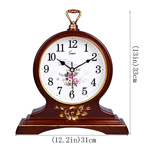 HAOFAY European Solid Wood Golden Mute Desk and Shelf Clock Decoration, Silent Quartz Table Clock Desk Clock by HAOFAY (Image #1)