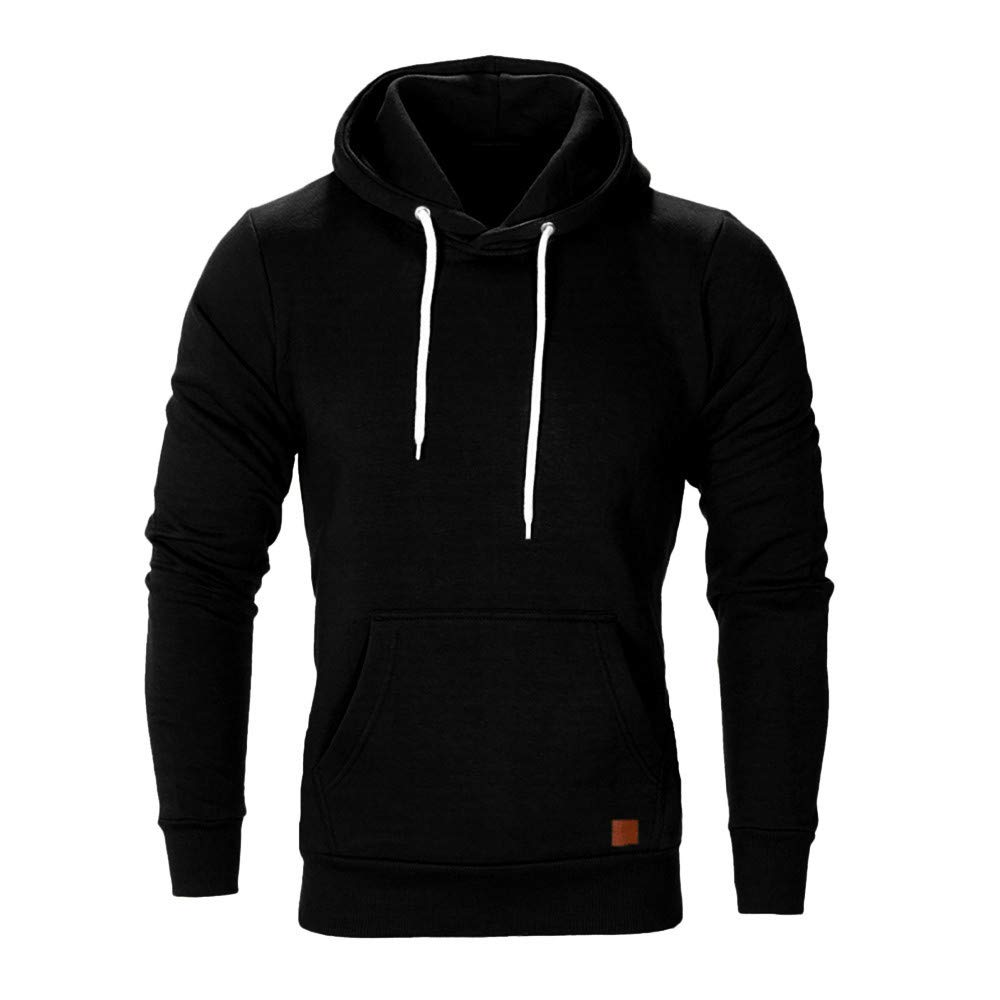 Dressin Big Mens Solid Casual Hoodie Autumn Winter Top Tracksuit with Pocket minRan Dressin0918
