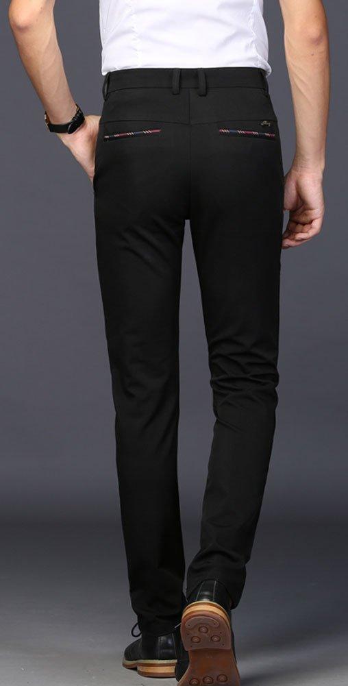Plaid&Plain Men's Stretch Dress Pants Slim Fit Skinny Suit Pants 7104 Black 32 by Plaid&Plain (Image #4)