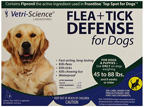 51ejjI2JbiL - VetriScience Laboratories Flea + Tick Defense for 45 to 88-Pound Dogs and Puppies, 3 Doses