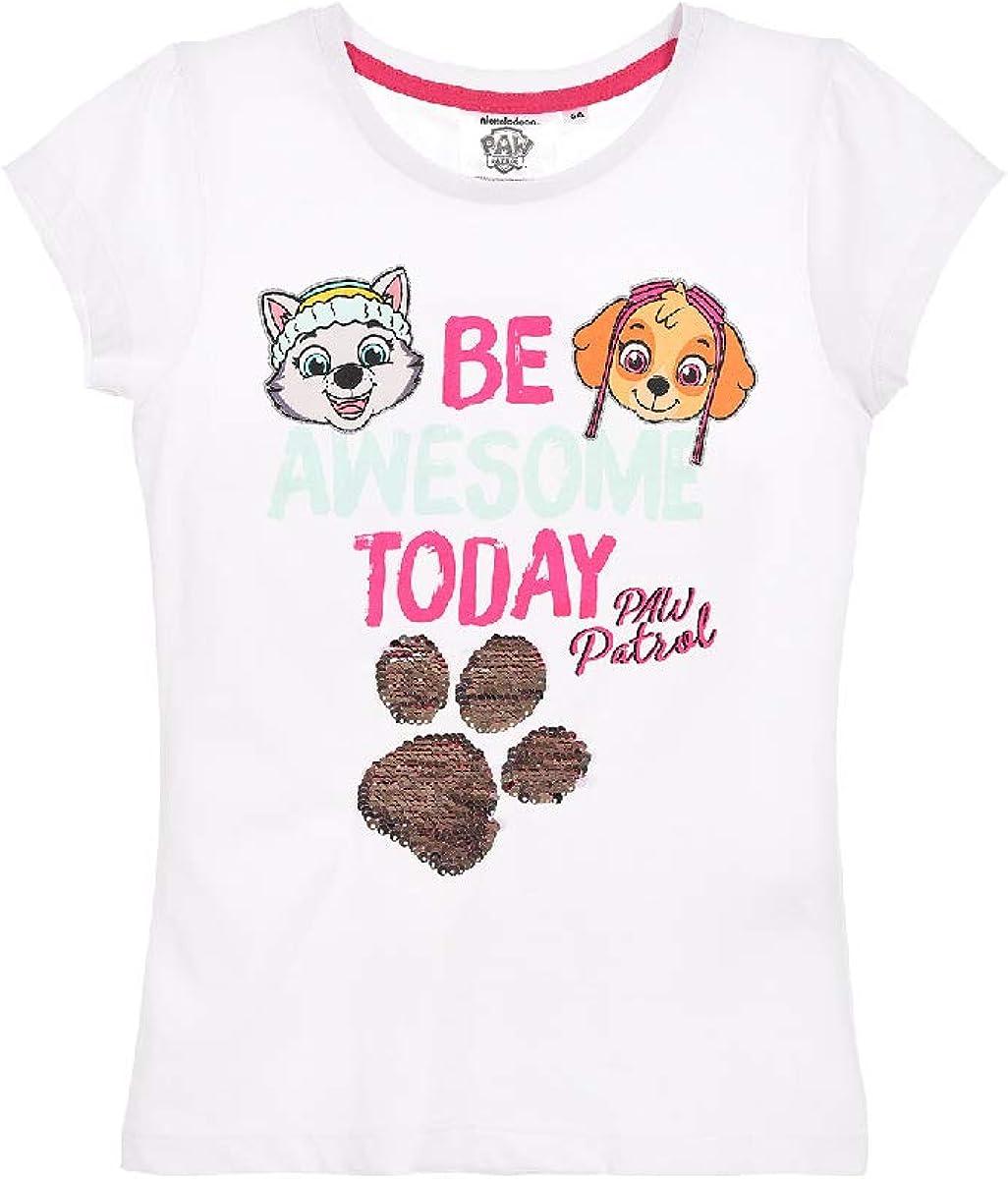 Camiseta de la Patrulla Canina reversible con lentejuelas para niña Blanco 110 cm: Amazon.es: Ropa y accesorios