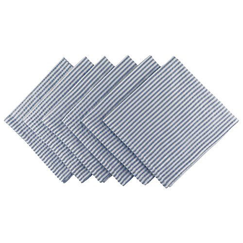 DII Cotton Seersucker Striped Napkin for Brunch, Weddings, Showers, Parties and Everyday Use, 20 x 20'', French Blue and White by DII