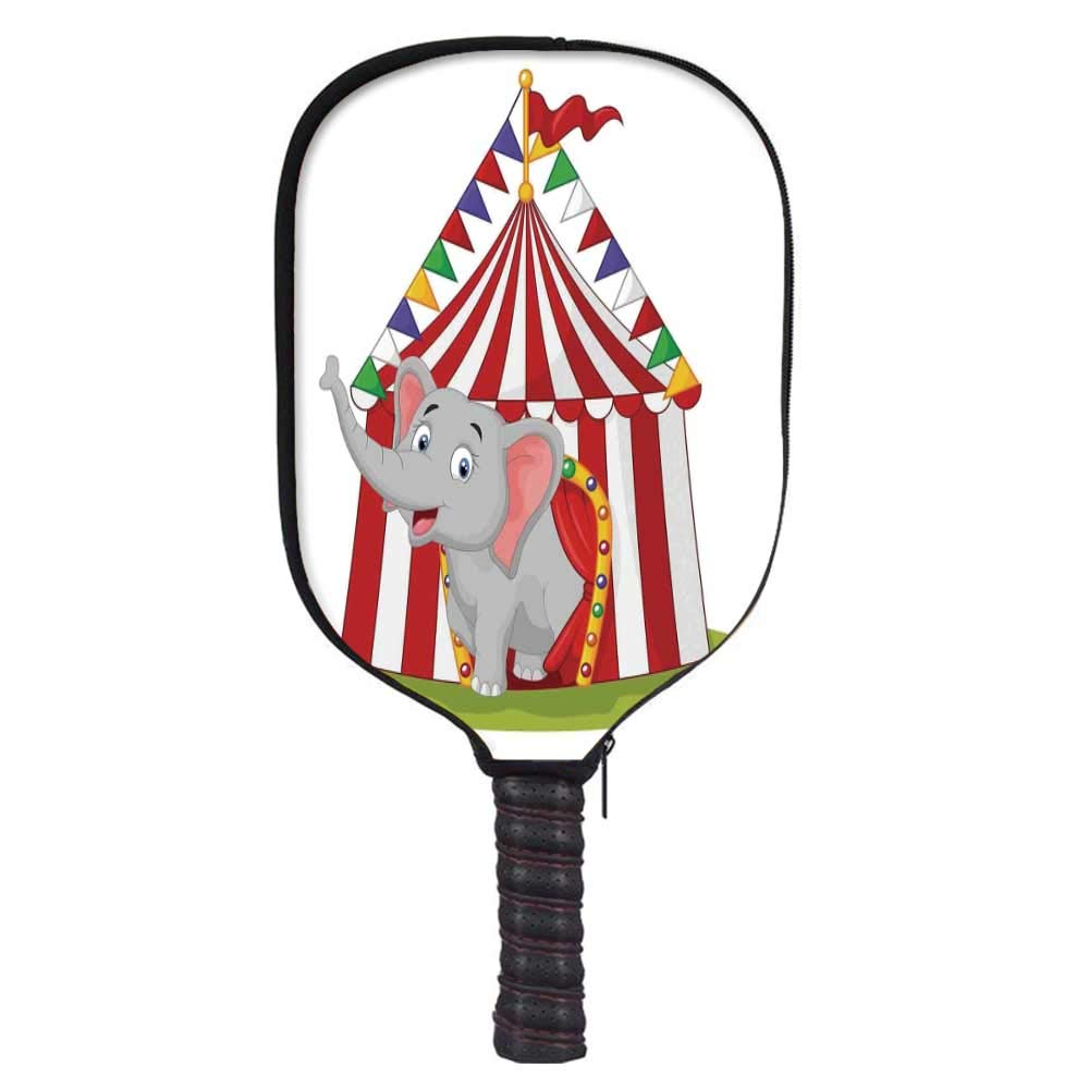 MOOCOM Circus Decor Fashion Racket Cover,Illustration of Happy Elephant in Colorful Circus Tent Carnival Entertainment for Playground,8.3'' W x 11.6'' H