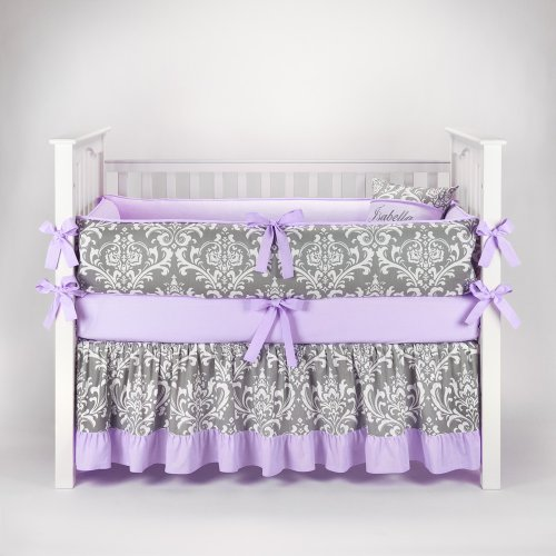 Damask Gray & Lilac Baby Bedding - 5pc Crib Set by Sofia Bedding