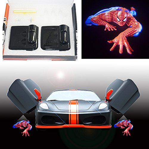 Spoya 3D Crawl Spiderman wireless magnetic car door step LED welcome logo shadow light laser projector light Powered by battery by Spoya