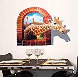 BIBITIME Break Through the Wall Stickers Vivid 3D Giraffe Decor Nursery Bedroom Fake Window Animal Vinyl Decals