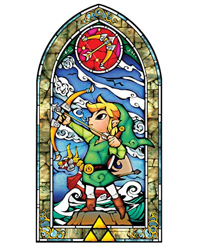 BLIK Zelda Wind Waker Hero's Bow Stained Glass Removable Wall Decal | Officially Licensed Nintendo Art | Easy Peel and Stick Design | 22.5 x 42.5 Inches