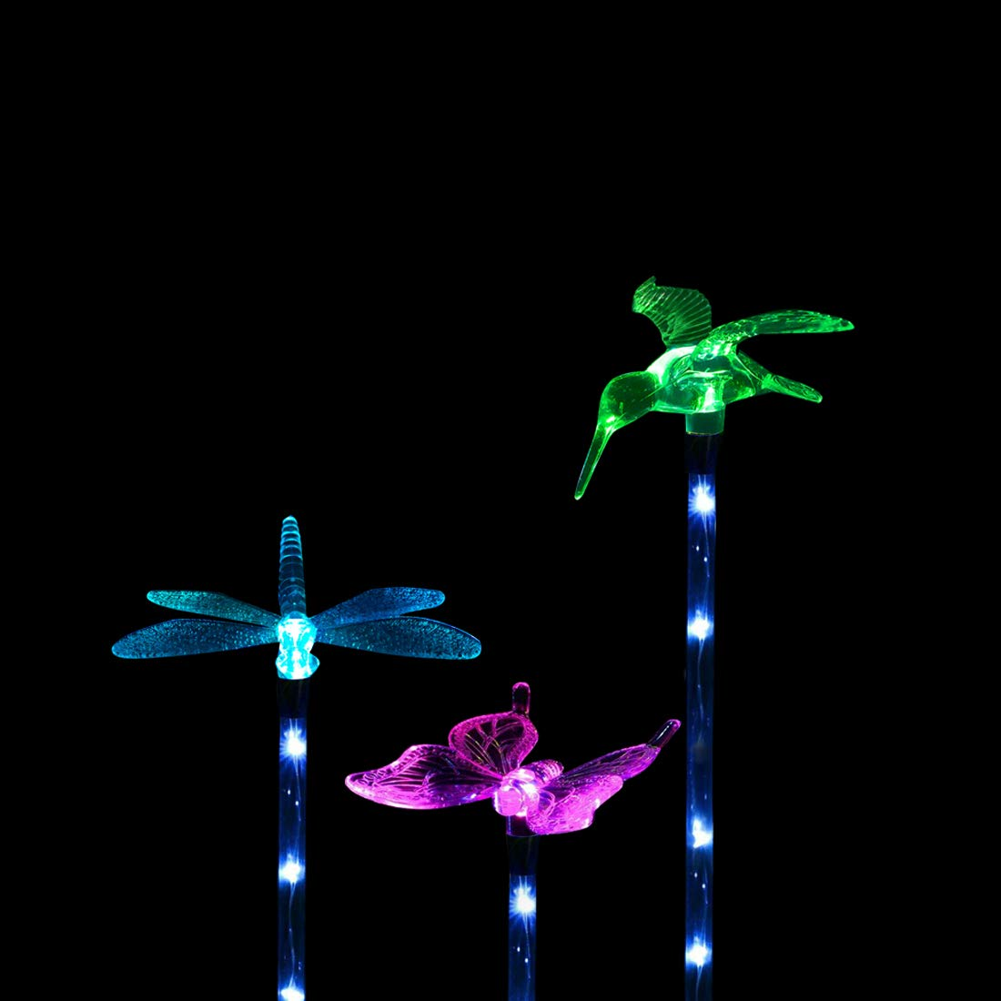 Solarmks S-1806, 3 Pack Multi-Color Changing Outdoor Solar Decorative White LED Stake Light for Garden, Patio, Backyard (Butterfly,Hummingbird,Dragonfly)
