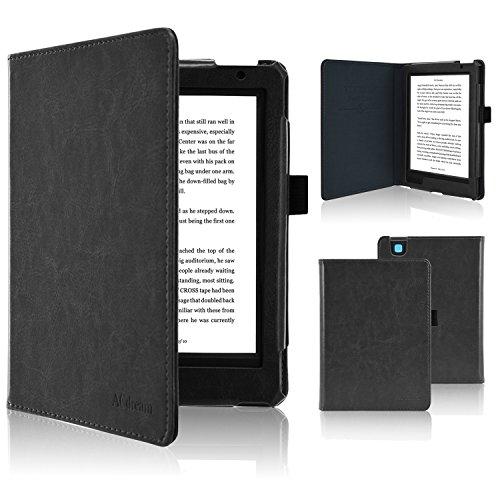 ACdream Kobo Aura H2O Edition 2 Case, Folio Premium PU Leather Cover Case for Kobo Aura H2O Edition 2(2017 release) with Auto Wake Sleep Function, Black