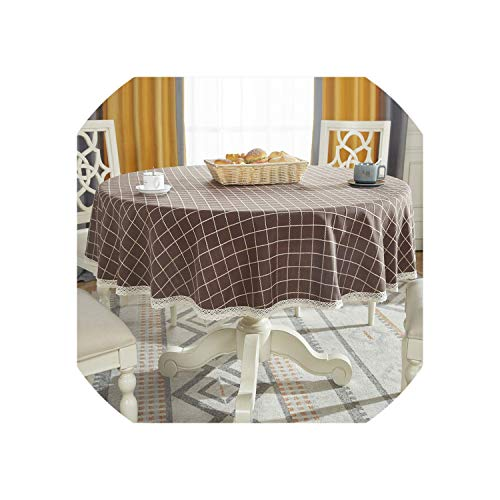 Round Table Cloth Cotton Linen Table Cover Plaid Grid Pattern Christmas Tablecloth Lace Edge Wedding Party Decor Tablecloths,Dark Coffee-Plaid,Diameter 140cm Round